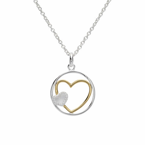 Unique & Co Unique & Co Sterling Silver & Yellow Gold Plated Round Double Heart Necklace
