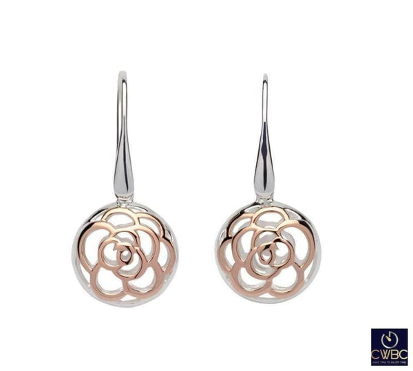 Unique & Co Jewellery & Watches:Fine Jewellery:Fine Earrings:Other Earrings Unique & Co Sterling Silver Dangle Earrings with Rose Gold Flower