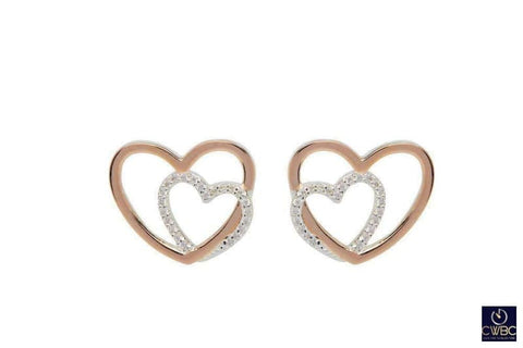 Unique & Co Jewellery & Watches:Fine Jewellery:Fine Earrings:Precious Metal without Stones Unique & Co Sterling Silver and Rose Gold Interlocking Hearts Earrings