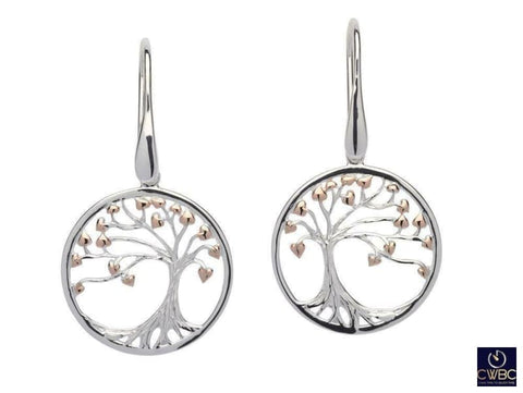 Unique & Co Jewellery & Watches:Fine Jewellery:Fine Earrings:Precious Metal without Stones Unique & Co Sterling Silver and Rose Gold Tree of Life Earrings