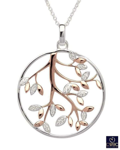 Unique & Co Jewellery & Watches:Fine Jewellery:Fine Necklaces & Pendants:Precious Metal without Stones Unique & Co Sterling Silver And Rose Gold Tree Of Life Pendant Necklace