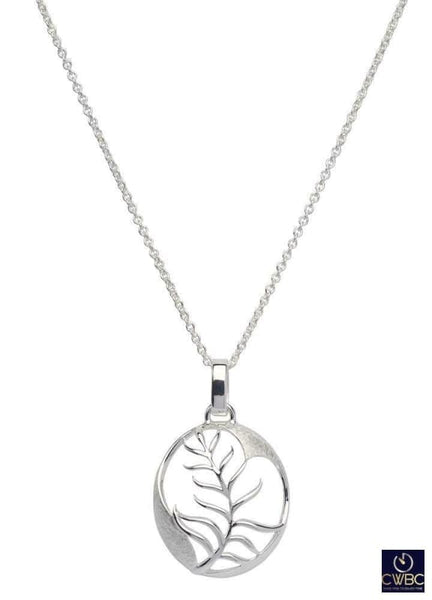 Unique & Co Jewellery & Watches:Fine Jewellery:Fine Necklaces & Pendants:Precious Metal without Stones Unique & Co Sterling Silver Oval with Branch & Leaf Leaves Pendant Necklace