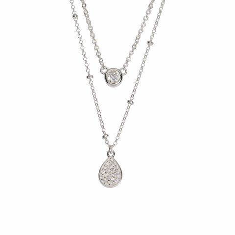 Unique & Co Unique & Co Sterling Silver Double Layered Diamonte & Droplet Pendant Necklace