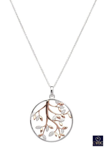 Unique & Co Unique & Co Sterling Silver & Rose Gold Tree Diamante Leaf Leaves Design Pendant Necklace