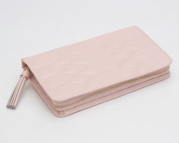 WOLF Jewellery & Watches:Jewellery Boxes & Su Wolf Caroline Quilted Leather Zip Travel Jewellery Portfolio in Rose Quartz