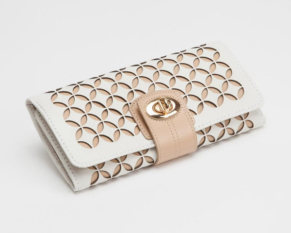 WOLF Jewellery & Watches:Jewellery Boxes & Su Wolf Chloe Perforated Leather Jewellery Roll in Cream