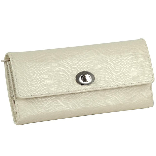 WOLF Jewellery & Watches:Jewellery Boxes & Su Wolf London Leather Travel Jewellery Roll in Cream