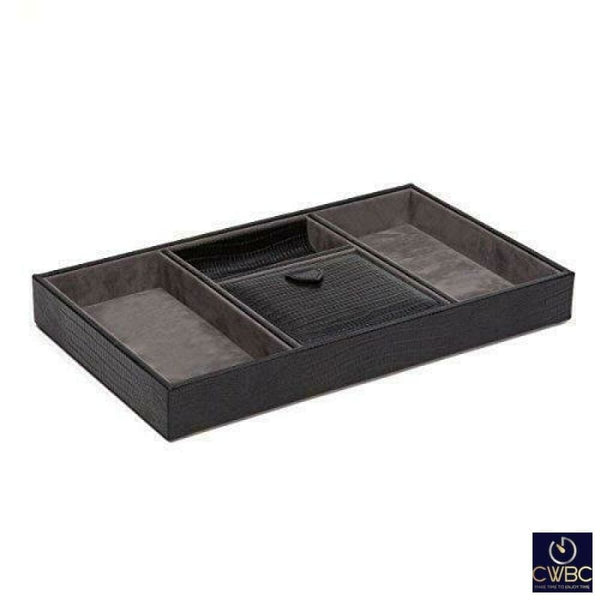 WOLF Jewellery & Watches:Jewellery Boxes & Supplies:Jewellery Boxes Wolf Blake Black Teju Lizard Effect Leather Valet Tray