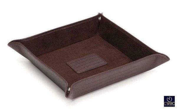 Wolf Jewellery & Watches:Jewellery Boxes & Supplies:Jewellery Display Wolf Blake Teju Lizard Effect Brown Leather Snap Coin Tray