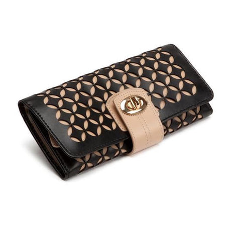 WOLF Wolf Chloe Perforated Leather Jewellery Roll in Black