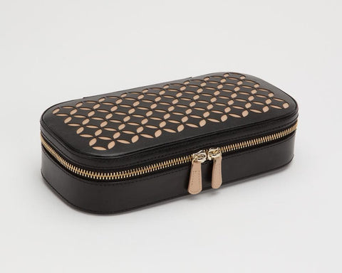 WOLF Wolf Chloe Perforated Leather Zip Travel Jewellery case in Black