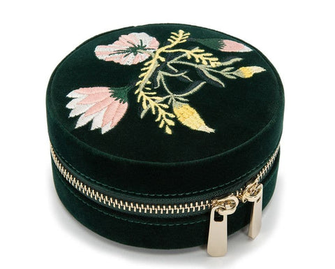 WOLF Wolf Zoe Emerald Green Velvet Floral Zip Round Travel Jewellery Storage Box