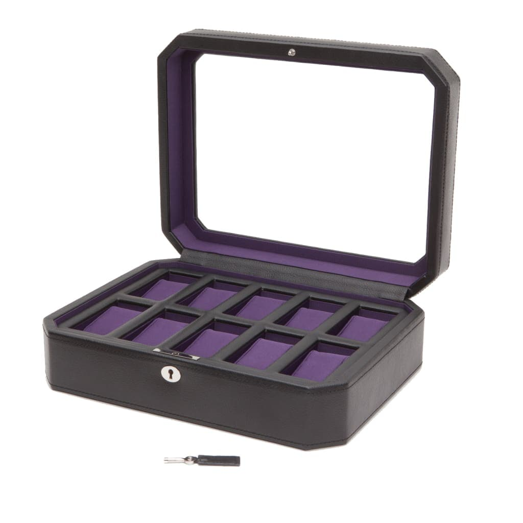 Windsor 10 Piece Locking Watch Box in Black and Purple - Designed by Wolf