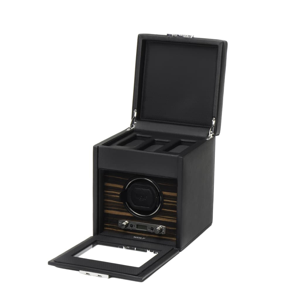 Roadster by Wolf Single Mechanical Watch Winder with Black Cover & Storage Case