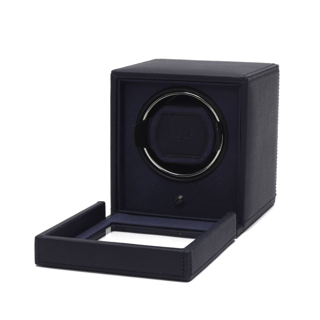 Wolf Cub Single Navy Leather Watch Winder with Cover