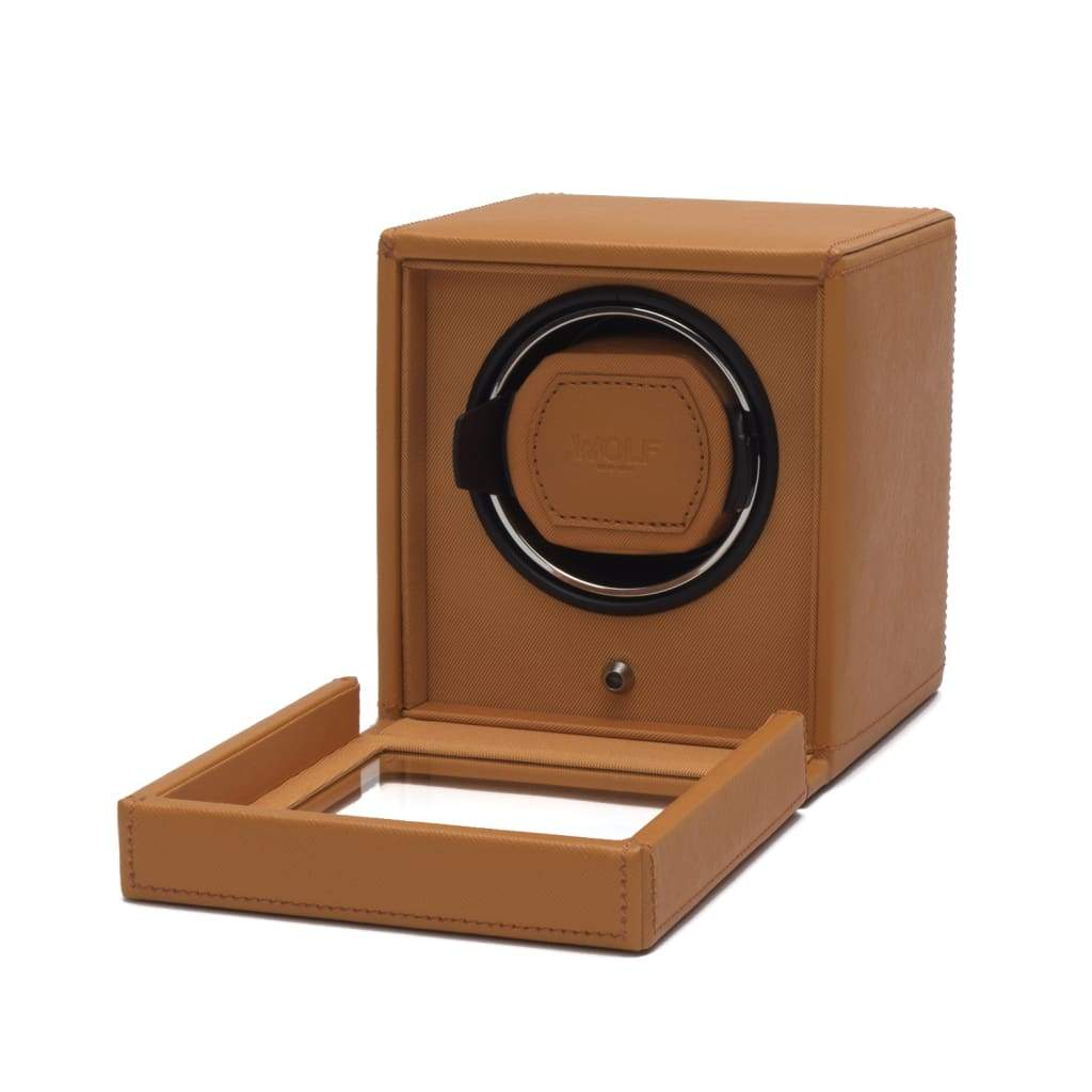 Wolf Cub Single Orange Leather Watch Winder with Cover