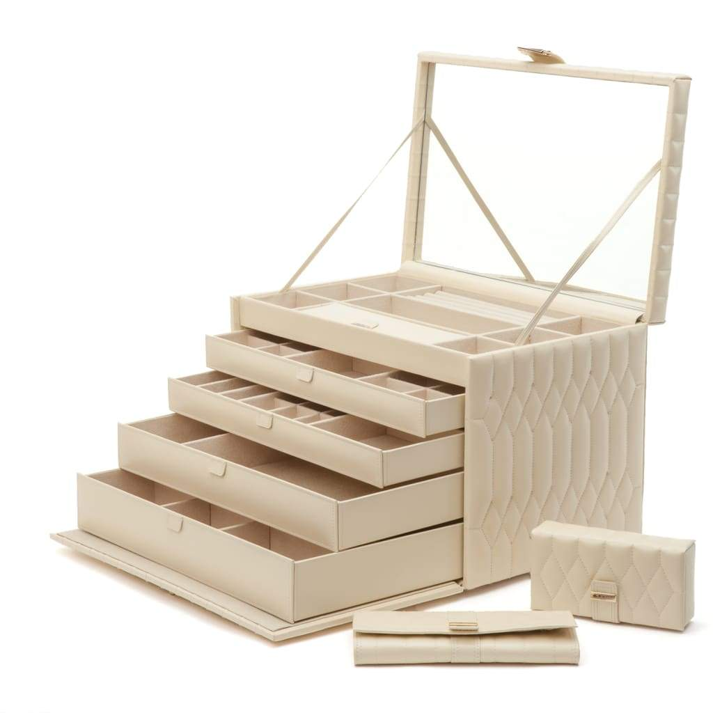 Wolf Caroline Quilted Leather Extra Large Jewellery Box in Ivory