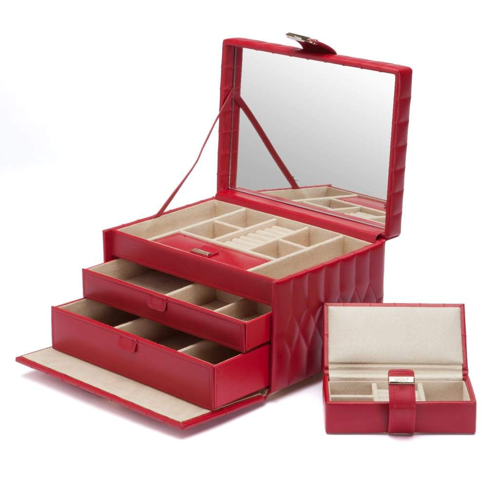 Wolf Caroline Quilted Leather Medium Jewellery Box in Red