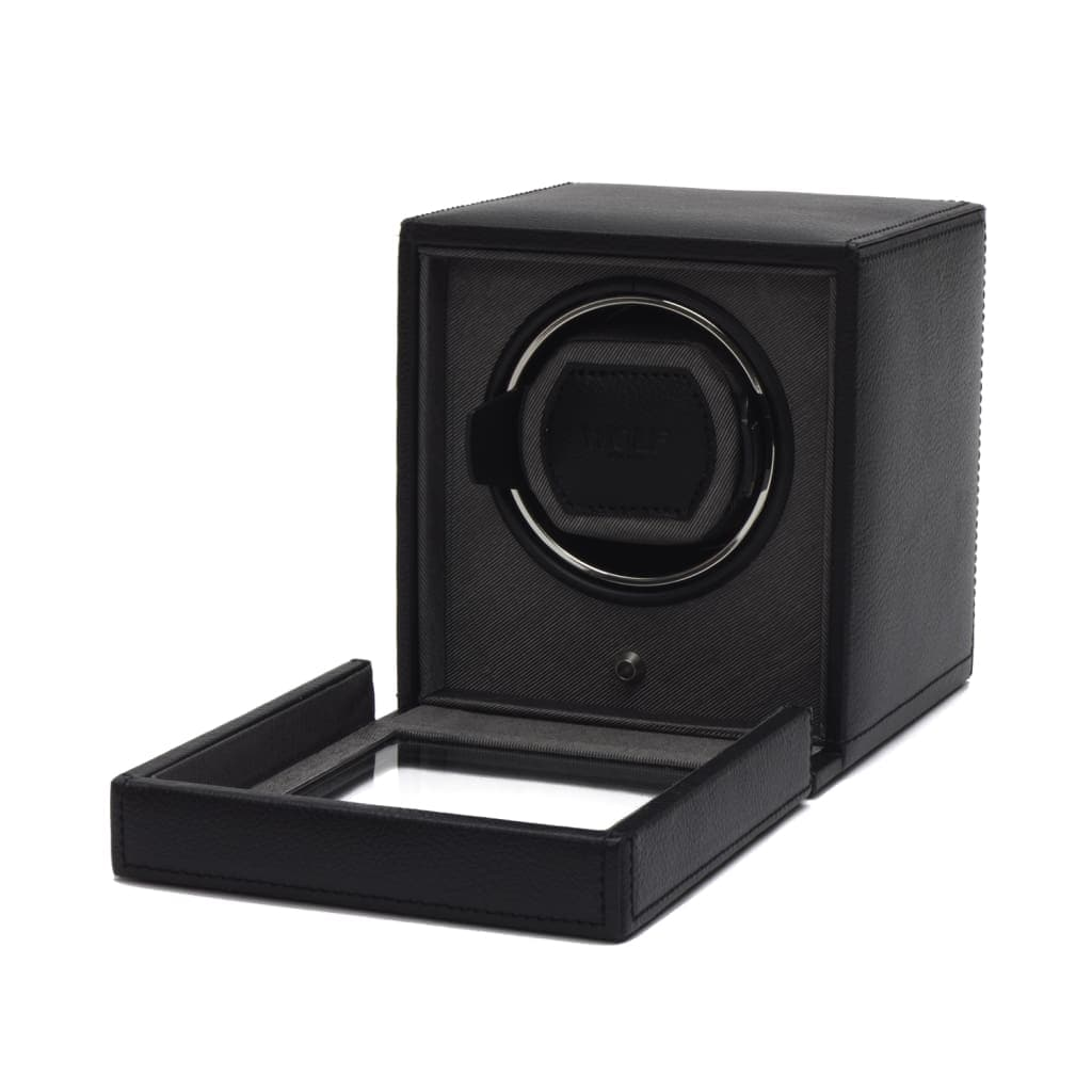 Wolf Cub Single Black Leather Watch Winder with Cover