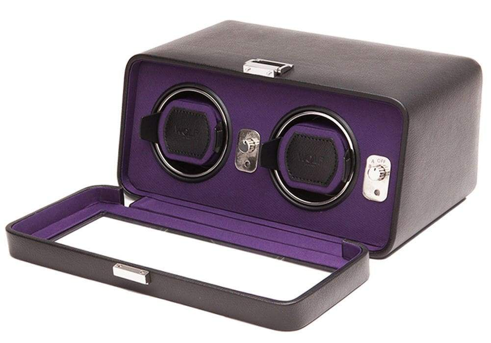 Wolf Windsor Double Automated Watch Winder with cover - Black with Purple