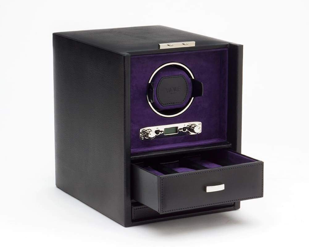 Wolf Blake Single 2.7 Mechanical Lockable Watch Winder - Black and Purple