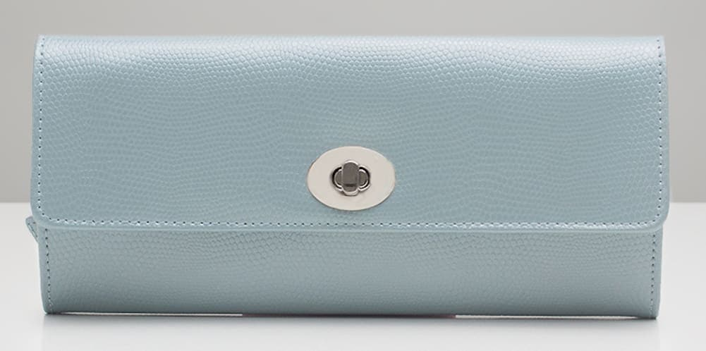 Wolf London Leather Travel Jewellery Roll in Ice Blue