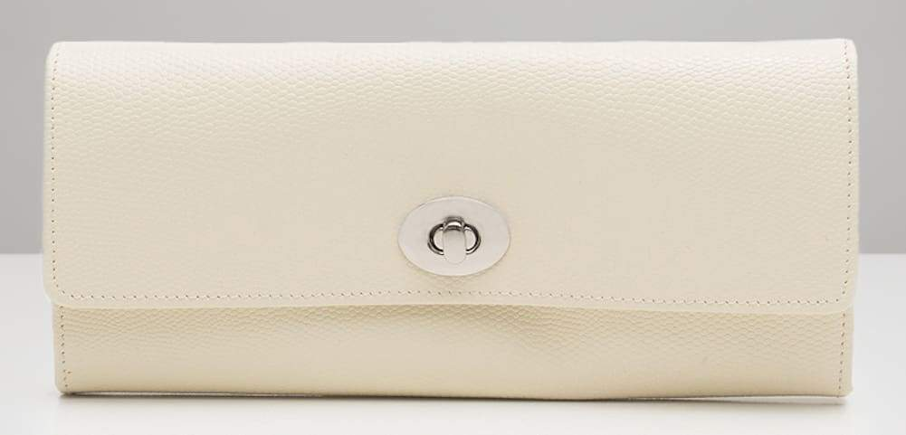 Wolf London Leather Travel Jewellery Roll in Cream