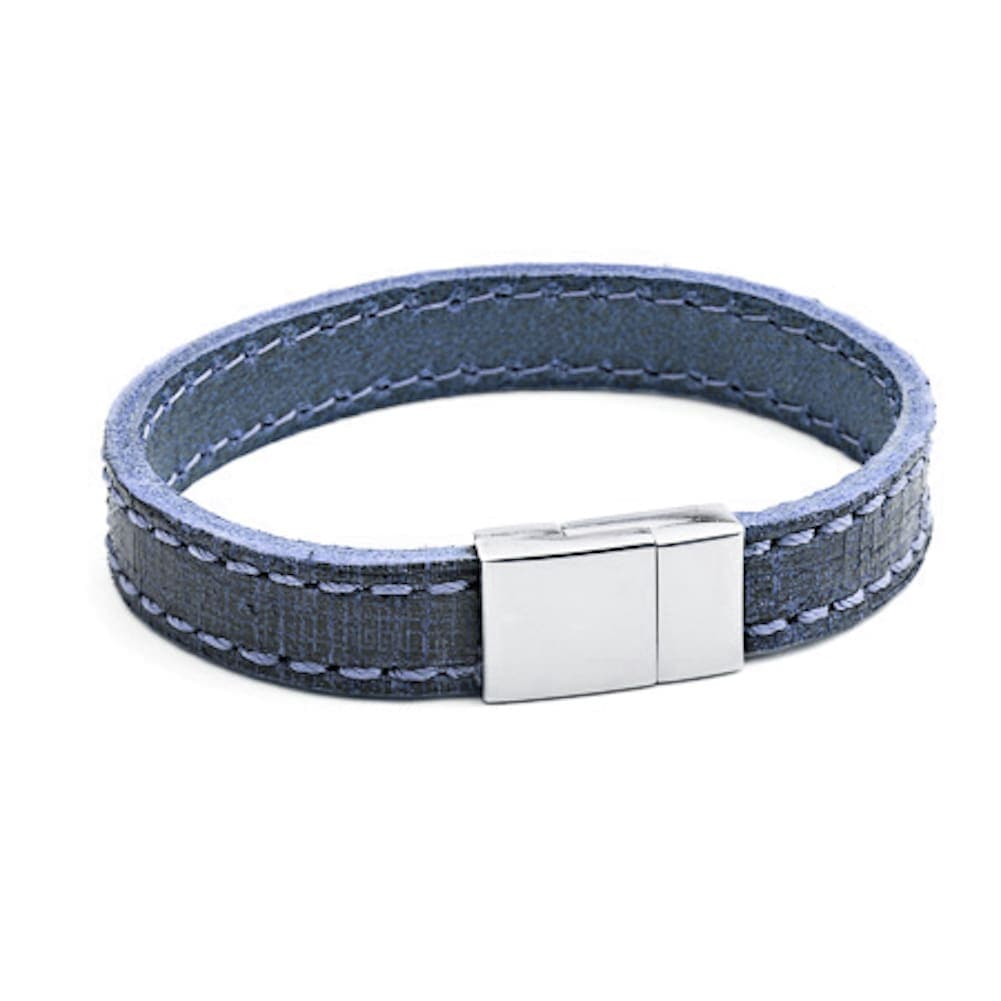 Tribal X.O. 21 x 12mm Stitched Leather Bracelet with SS Magnetic Clasp in Blue