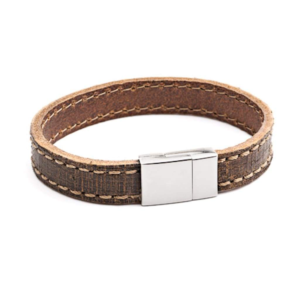 Tribal X.O. 21 x 12mm Stitched Leather Bracelet with SS Magnetic Clasp in Tan