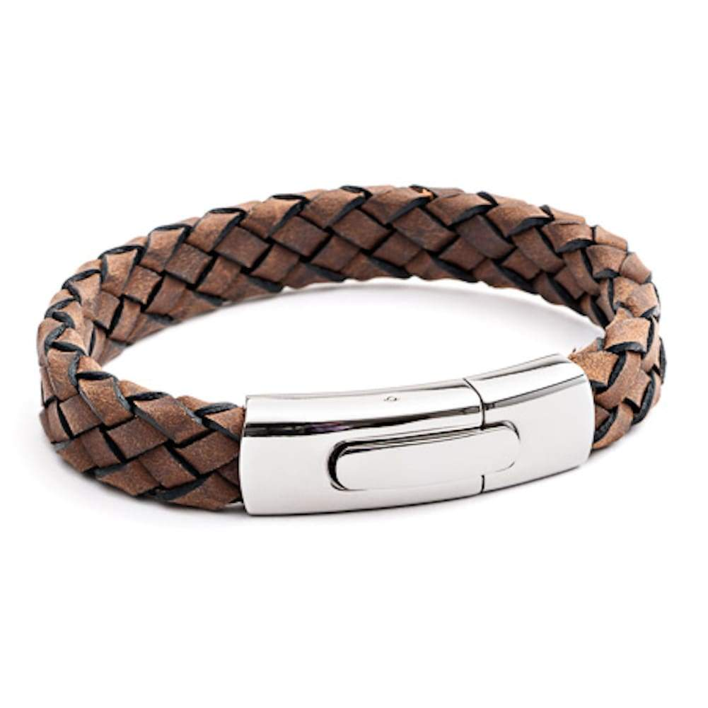 Tribal X.O. 21 x 12mm Plaited Leather Bracelet SS Rocker Clasp in Brown