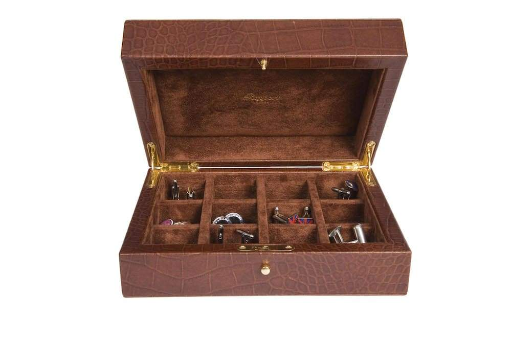 Rapport Portman Leather Cufflink Case in Brown Crocodile finish