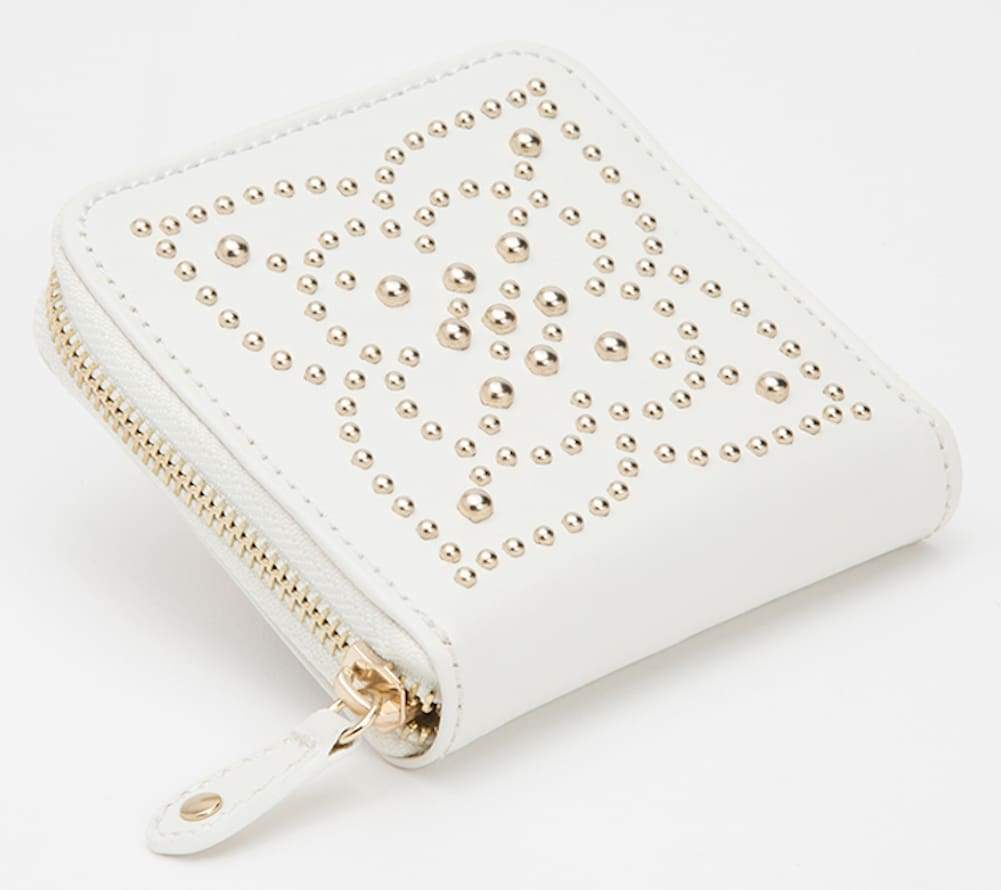 Wolf Marrakesh Leather Zip Travel Jewellery Case in Cream with Gold Mosaic
