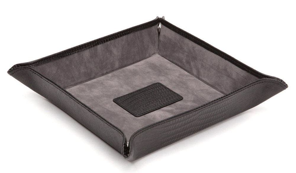 Wolf Blake Teju Lizard Effect Black Leather Snap Coin Tray