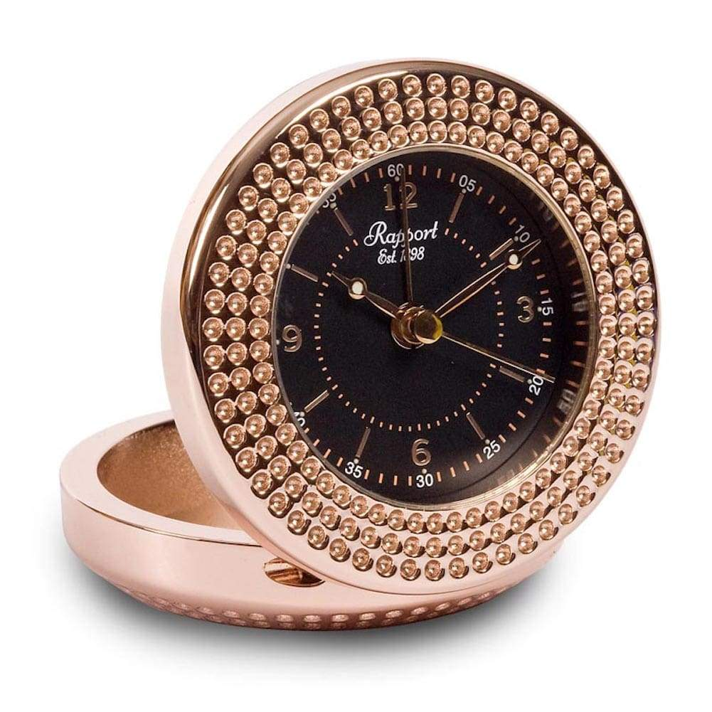Rapport Rosette Black and Rose Gold A291 Travel Alarm Clock