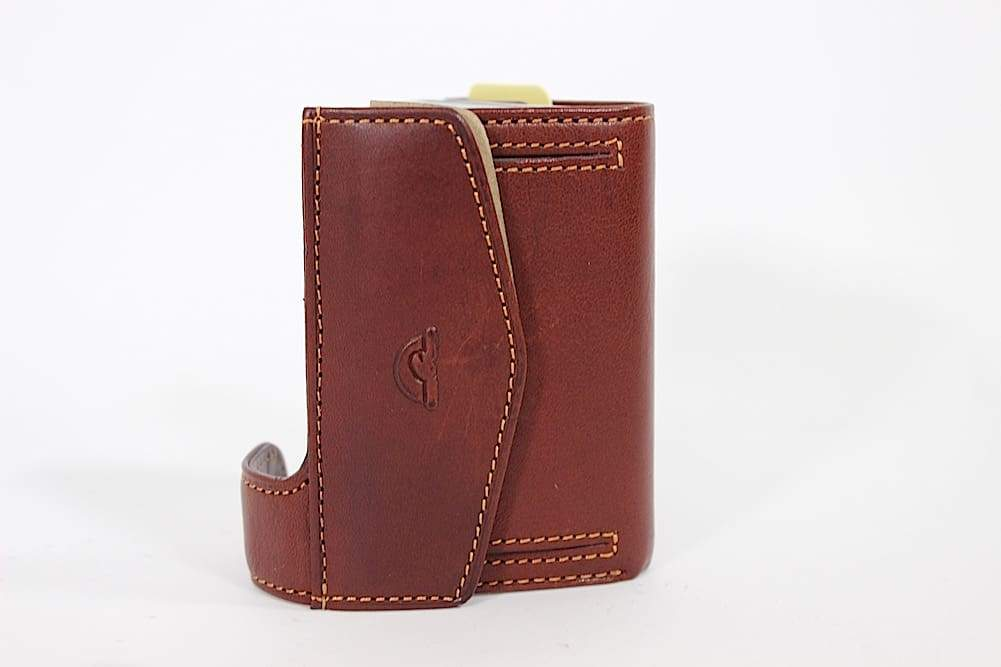 Tony Perotti Aluminium Card Sleeve RFID Mini Wallet with Coin Pouch in Brown