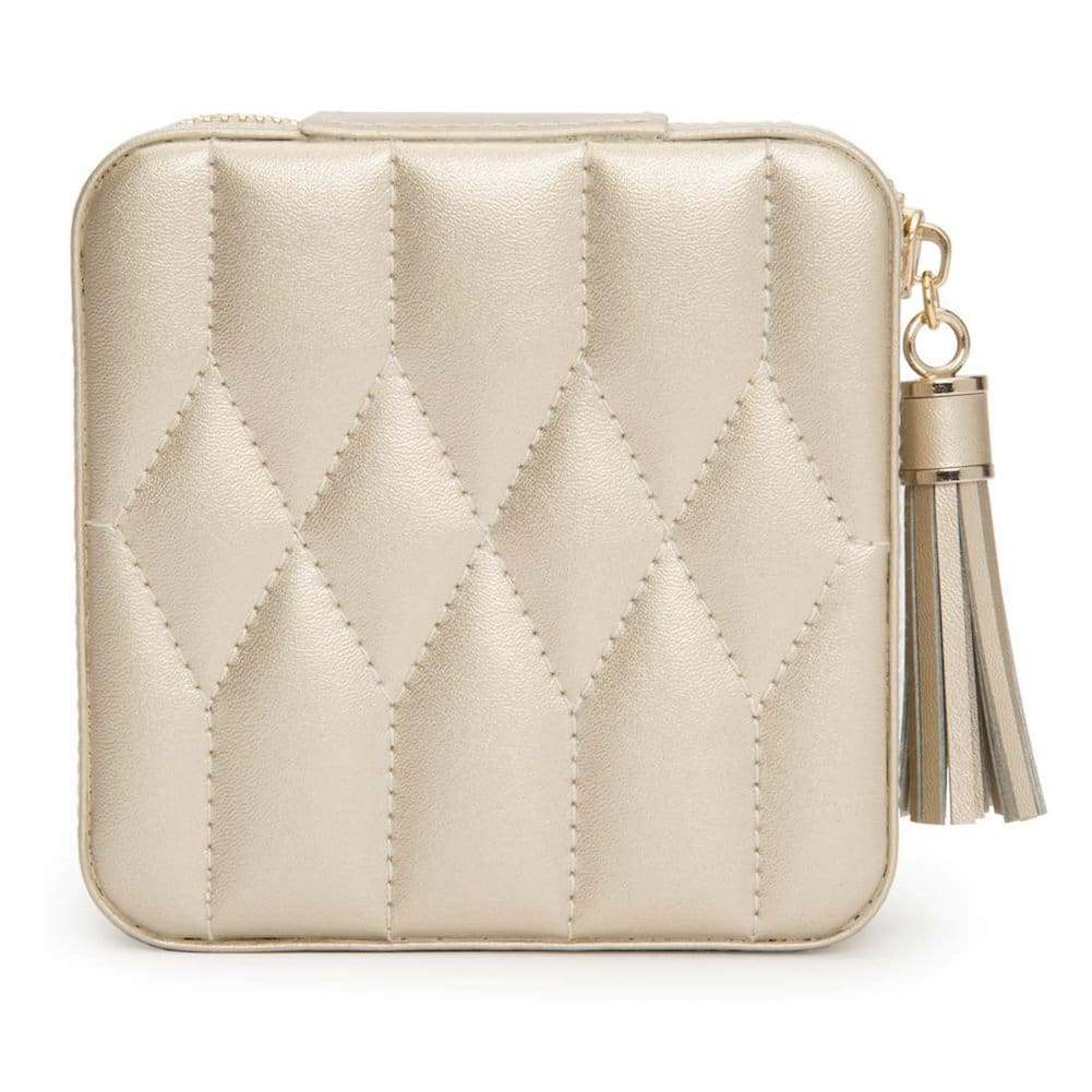 Wolf Caroline Quilted Leather Zip Travel Jewellery Case in Champagne