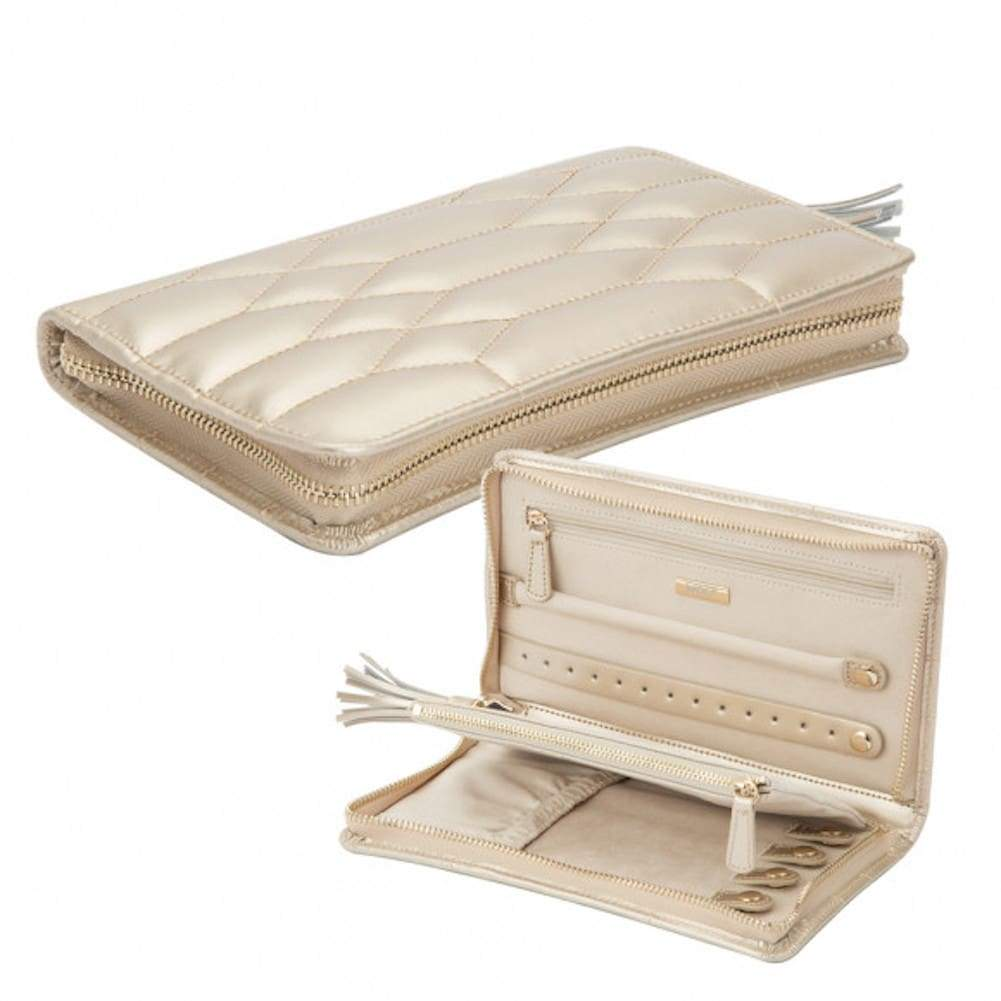 Wolf Caroline Quilted Leather Zip Travel Jewellery Portfolio in Champagne