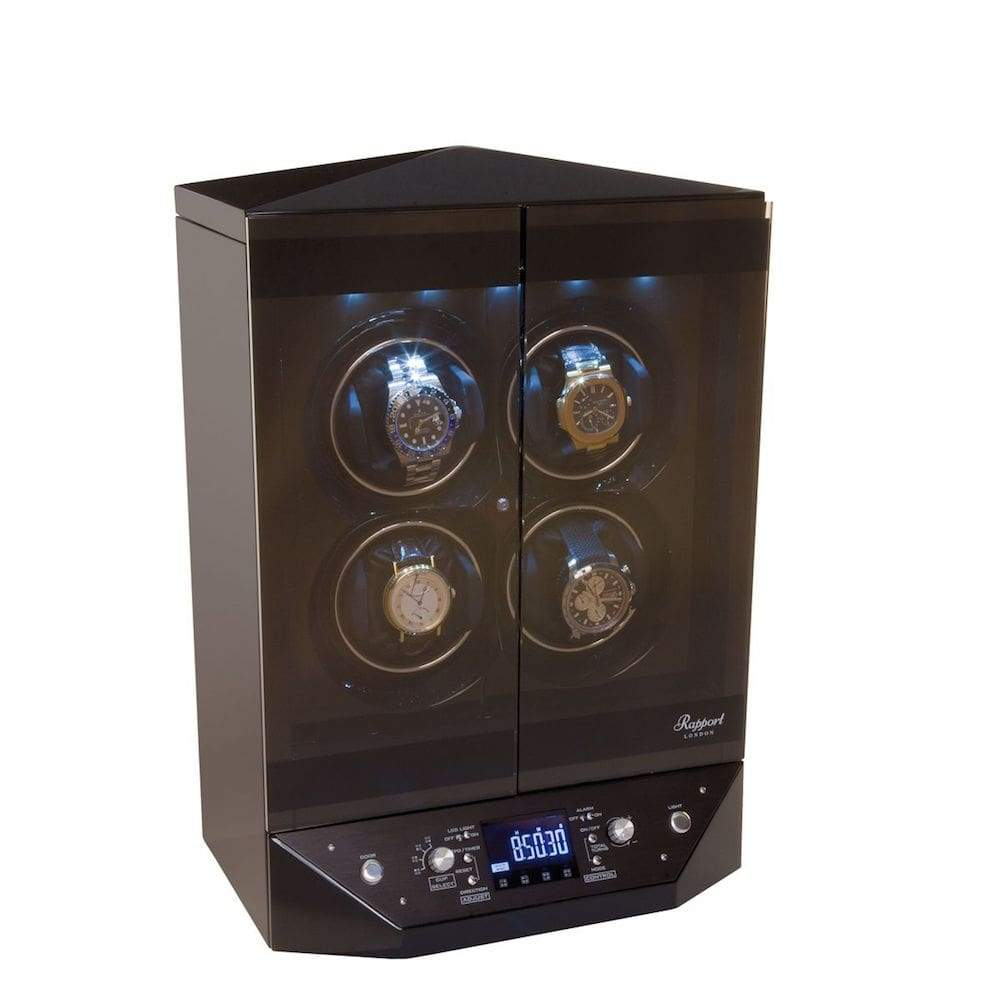 Rapport Templa Ebony 4 Watch Winder Cabinet