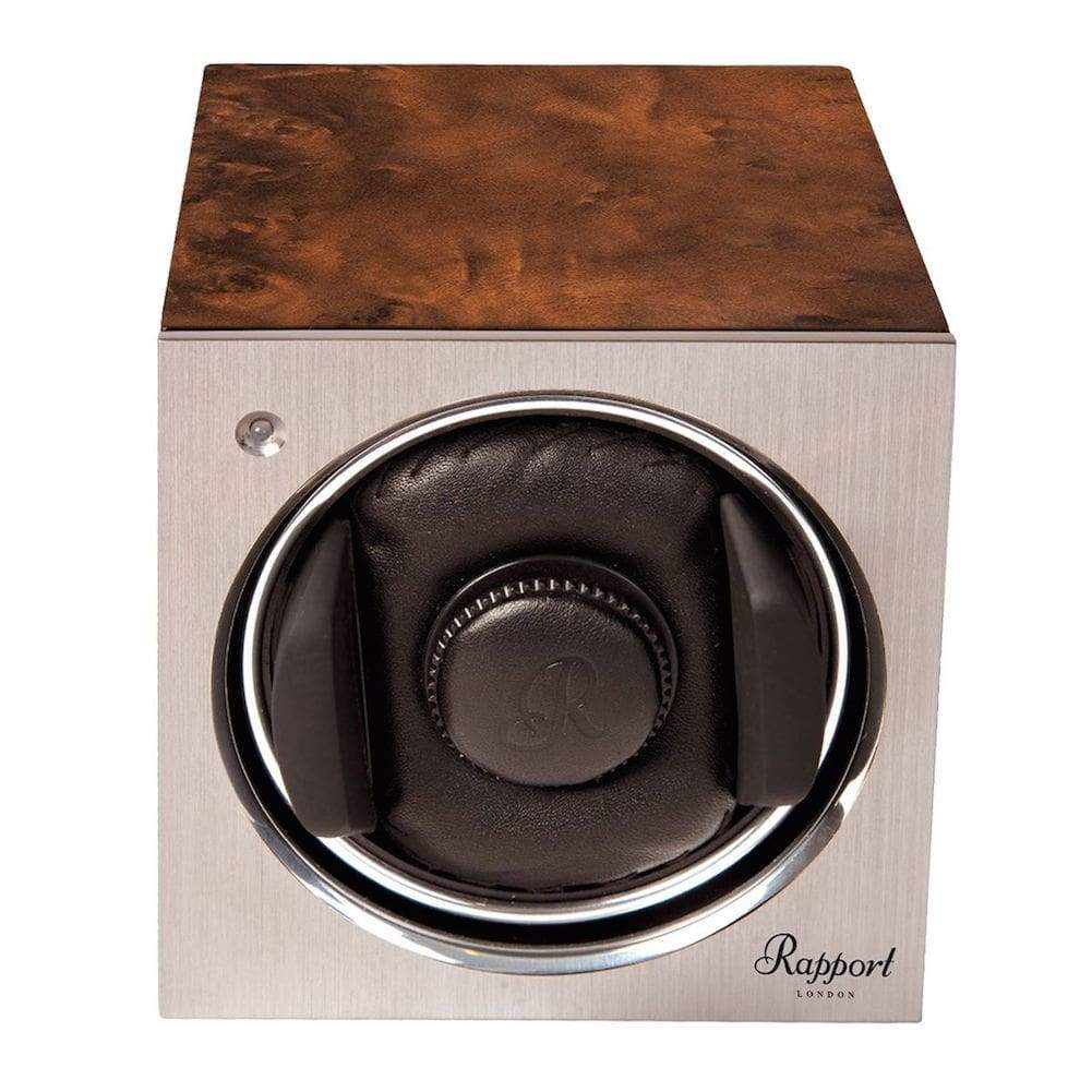 Rapport Tetra Mono Single Watch Winder Aluminium Faced with Walnut Case