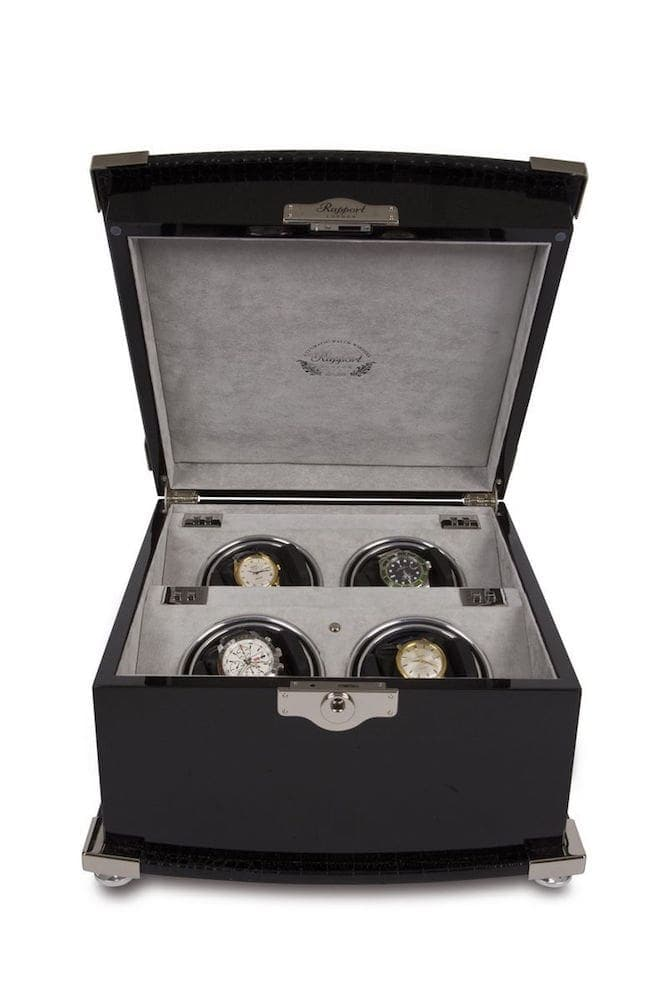 Rapport Serpentine Quad 4 Watch Winder Black Leather finished