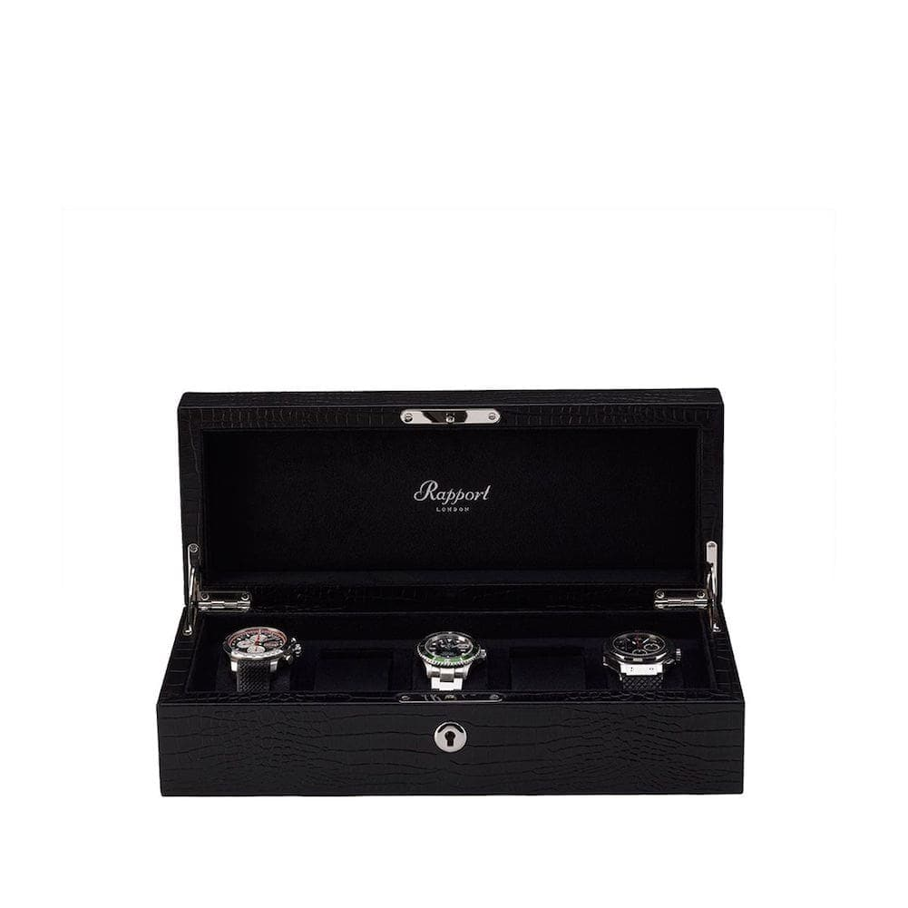 Rapport Solid Wood with Black Crocodile Pattern Leather 5 Watch Collector Box