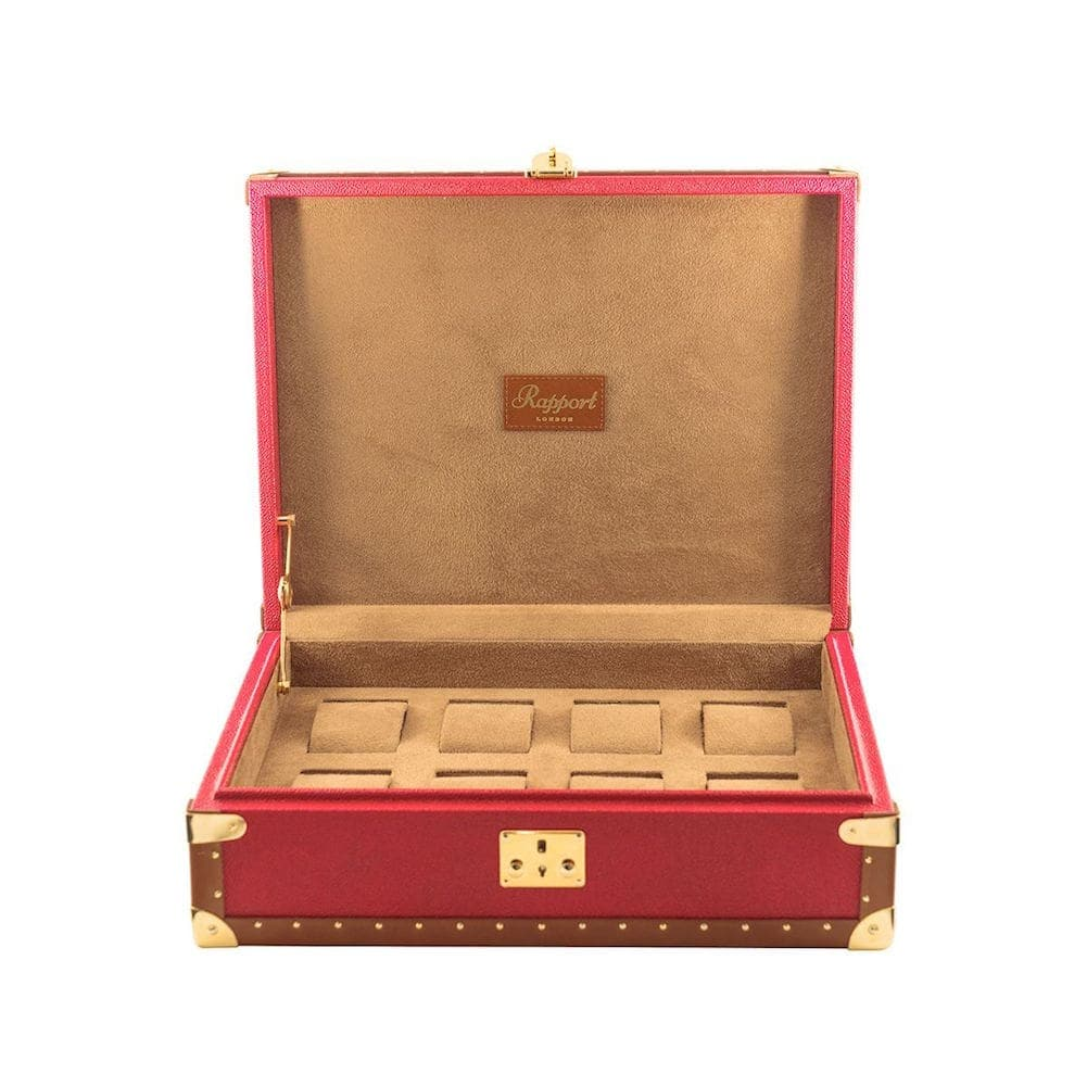 Rapport Red Leather Classic Eight Watch Box with Gold Fitments