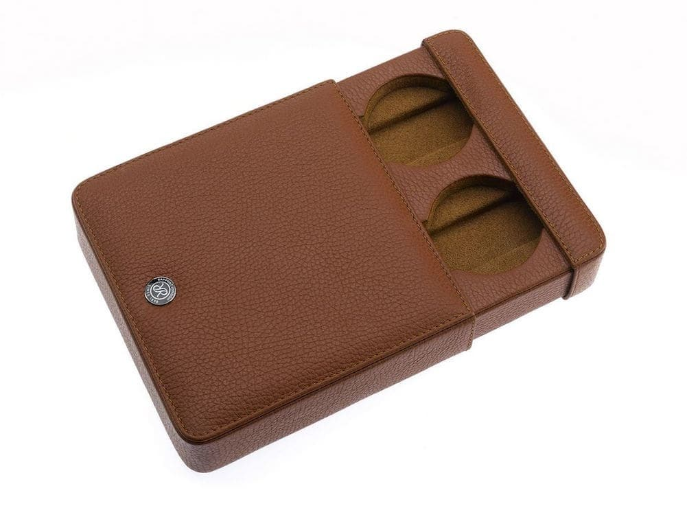 Rapport Tan Genuine Grained Leather Double Watch Slipcase