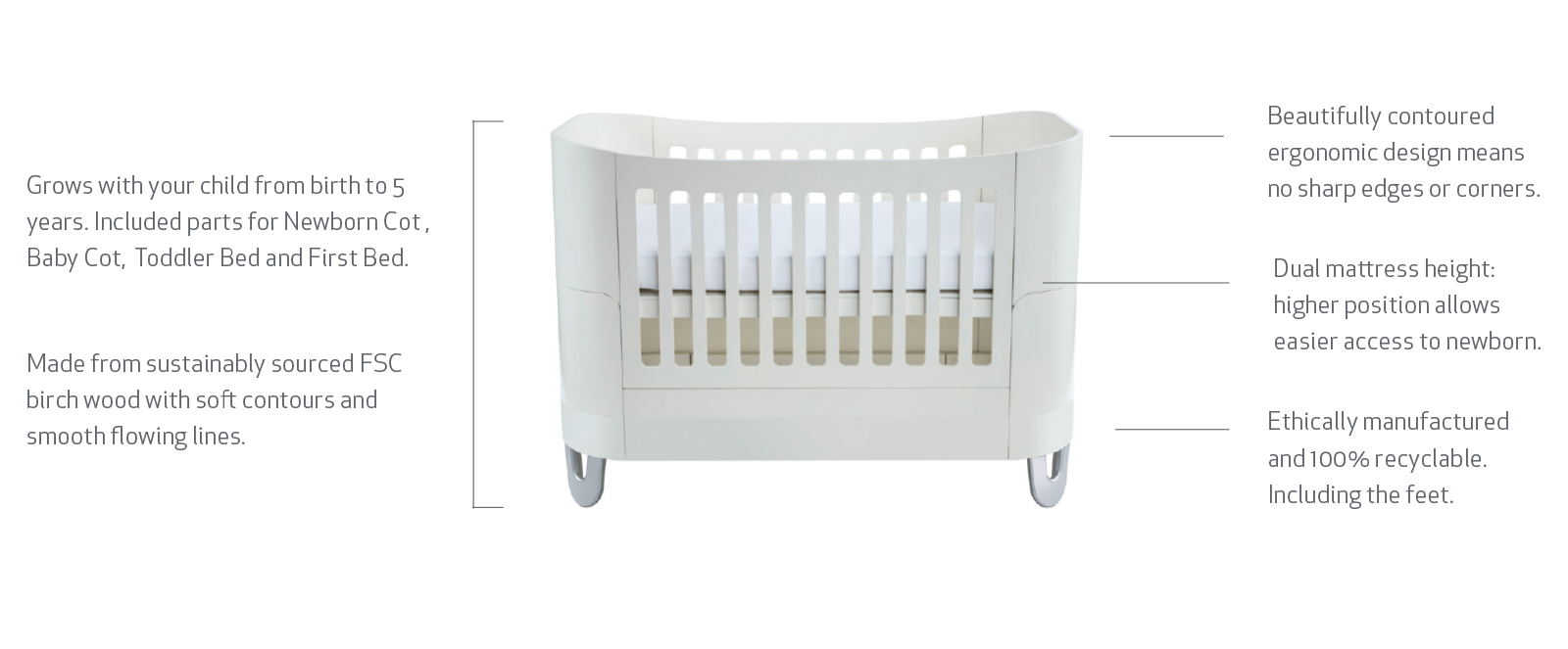 Gaia Serena Cot Bed Features