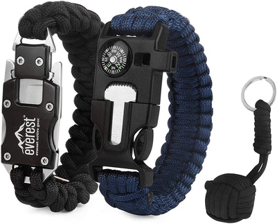 Everest Paracord Emergency Bracelets Adjustable Size, The Ultimate Tactical Survival Gear, Flint Fire Starter, Whistle, Compass & Scraper, Wilderness Survival-Kit for Camping, Hunting, 2 Pack, Black