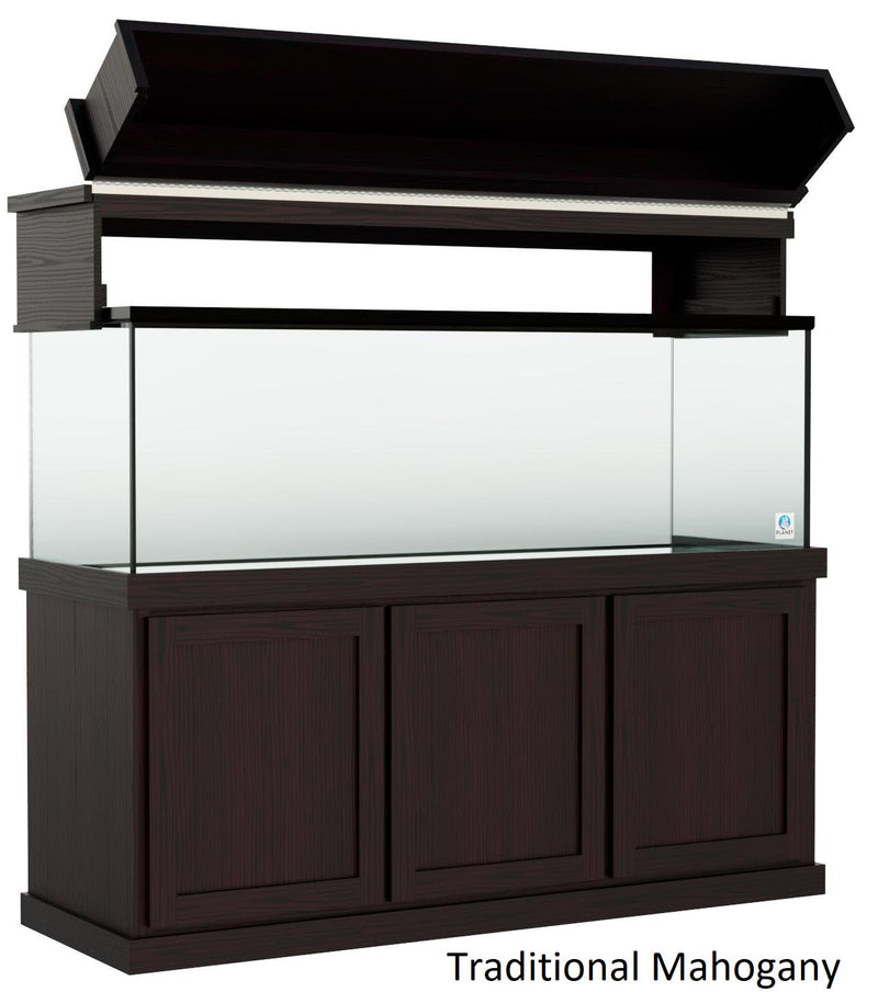 "Classic Aquarium Canopy with 12"" Front Lift Option Stained Traditional Mahogany"