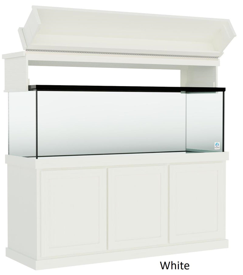 "Classic Aquarium Canopy with 12"" Front Lift Option White Stain Selection"