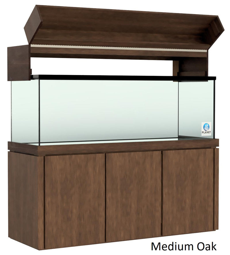 "Elegance Aquarium Canopy with 12"" with a Front Lift fits 150 gallon and 175 gallon tanks Stained Medium Oak"