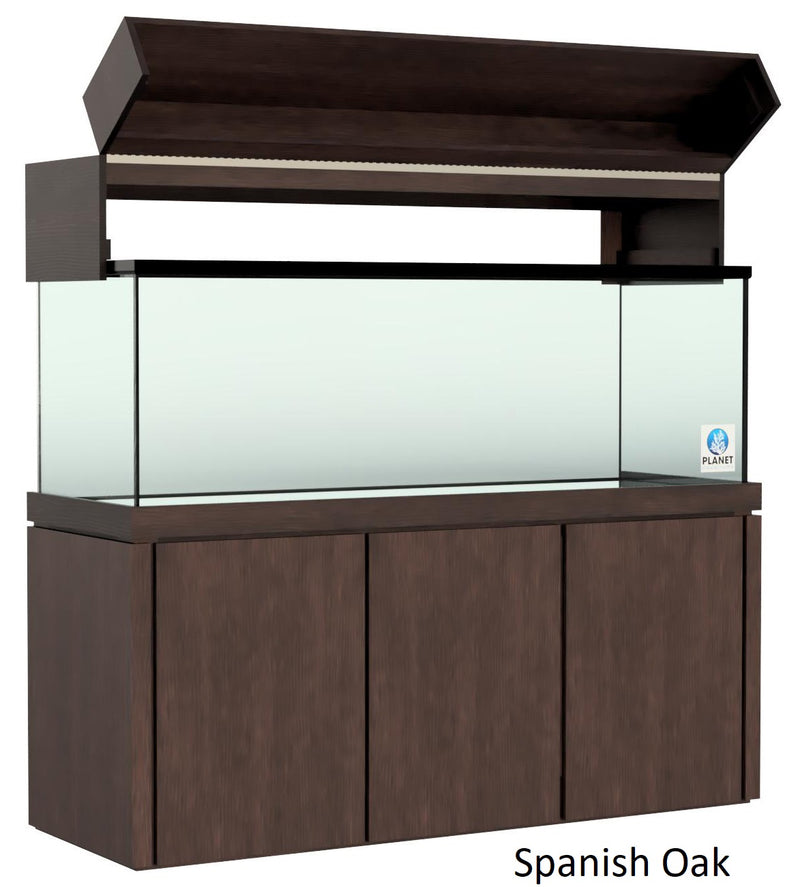 "Elegance Aquarium Canopy with 12"" with a Front Lift fits 150 gallon and 175 gallon tanks StainedSpanish Oak"