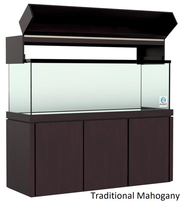 "Elegance Aquarium Canopy with 12"" with a Front Lift fits 150 gallon and 175 gallon tanks Stained Traditional Mahogany"